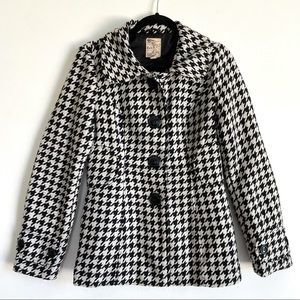 Tulle Houndstooth Women's Button Up Heavy Coat